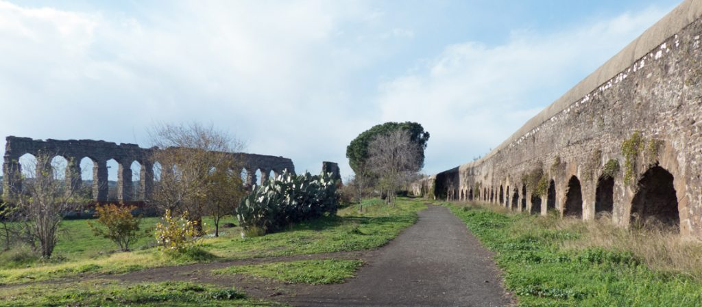 Two ancient aqueducts in the Aqueduct Park, Rome