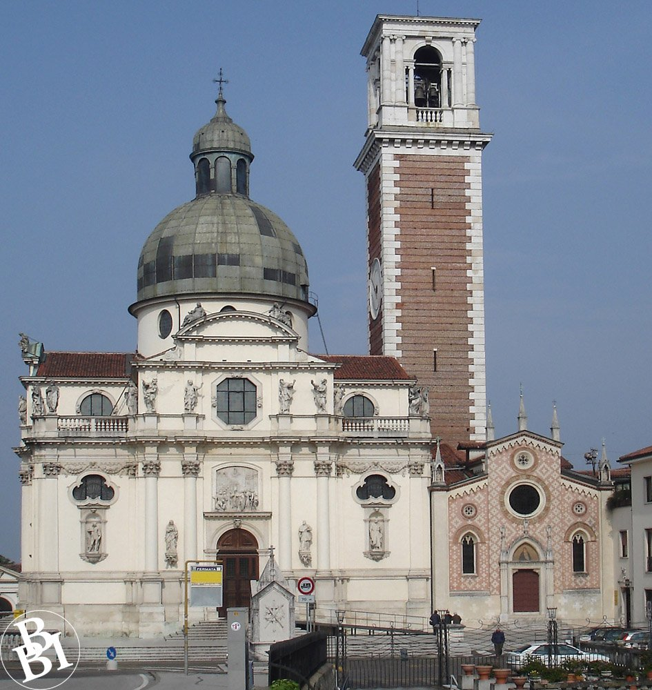 Exterior of the basilica, with the bell tower beside it