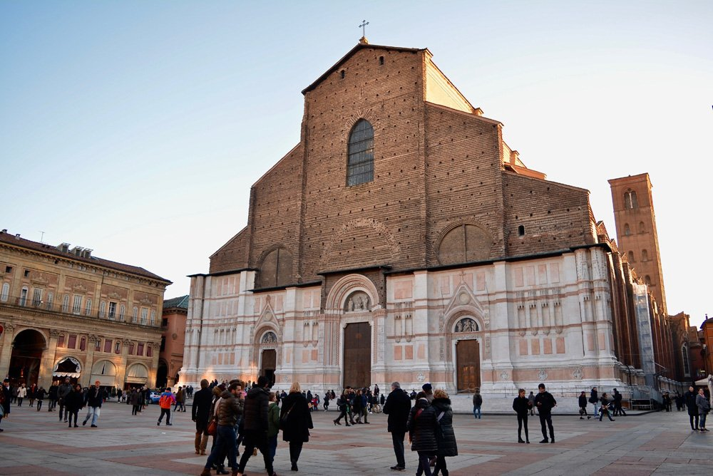 Outside of the cathedral in Bologna