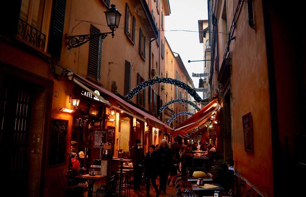 Night time restaurants at the end of a perfect day in Bologna