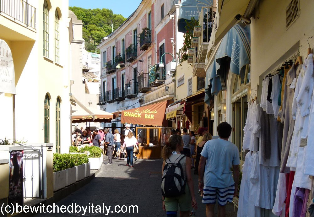Street with shops and tourists