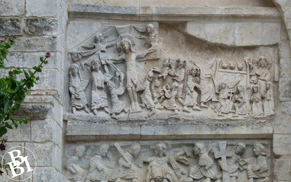Carved figures on the outside of the Baptistery