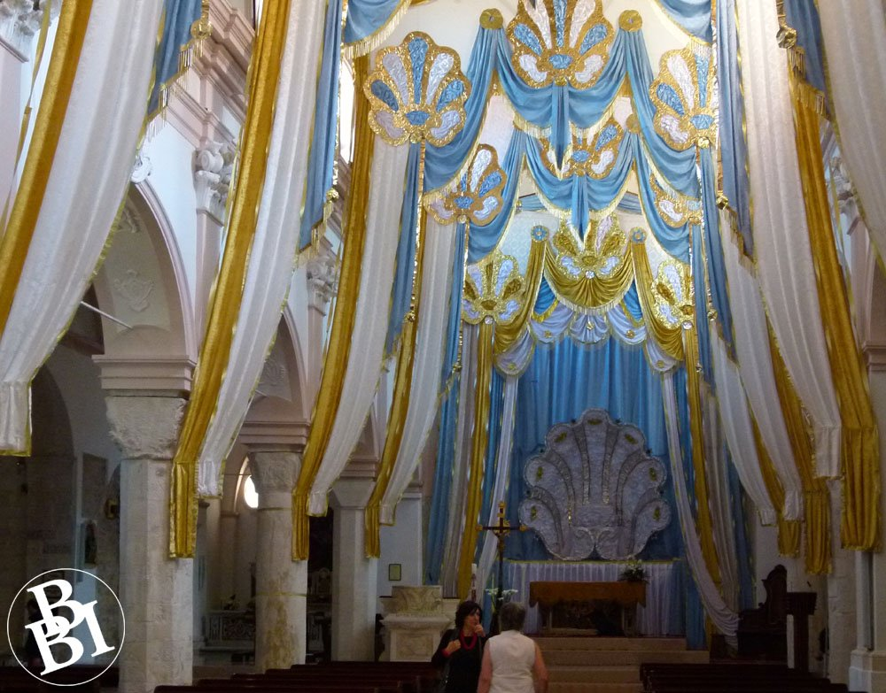 Interior of cathedral with festive blue and gold furnishings