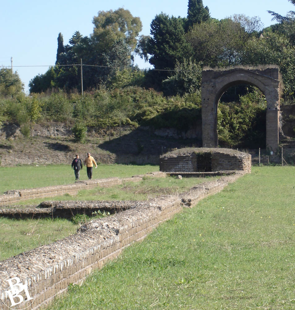 Foundations and archway of the Circus Maxentius