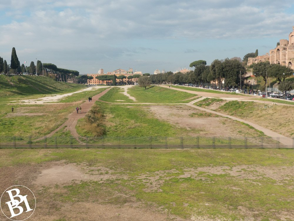 Large grassy area with remains of the Circus Maximus