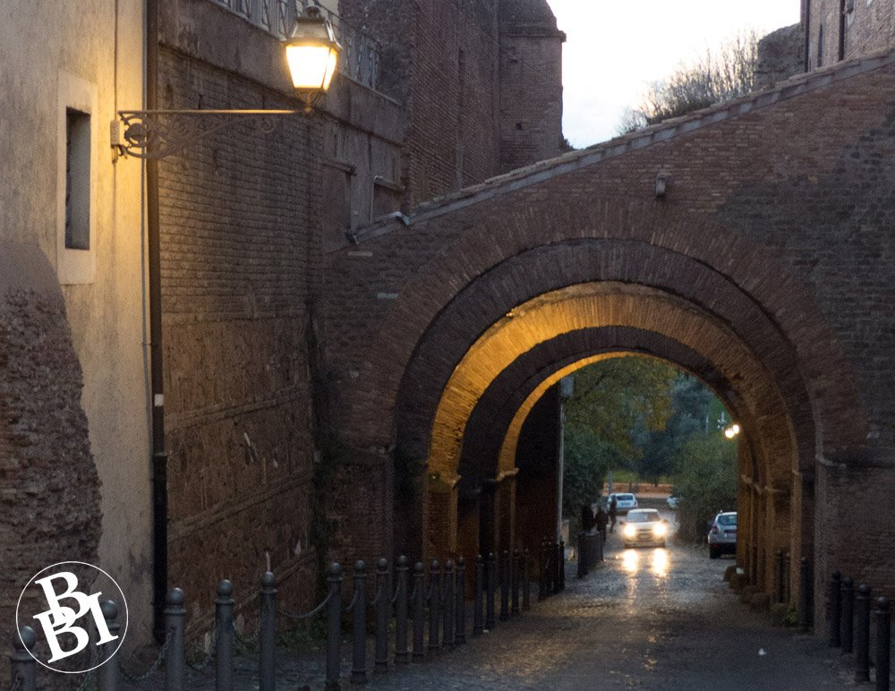 Medieval arches across a road
