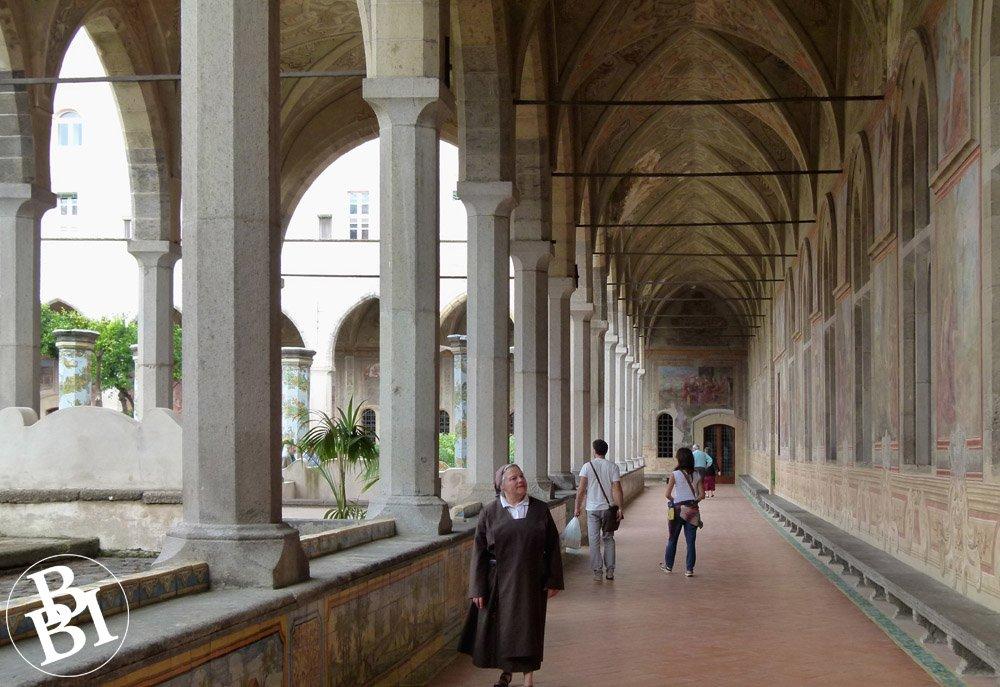 Columns and passageway in the Cloister of Santa Chiara