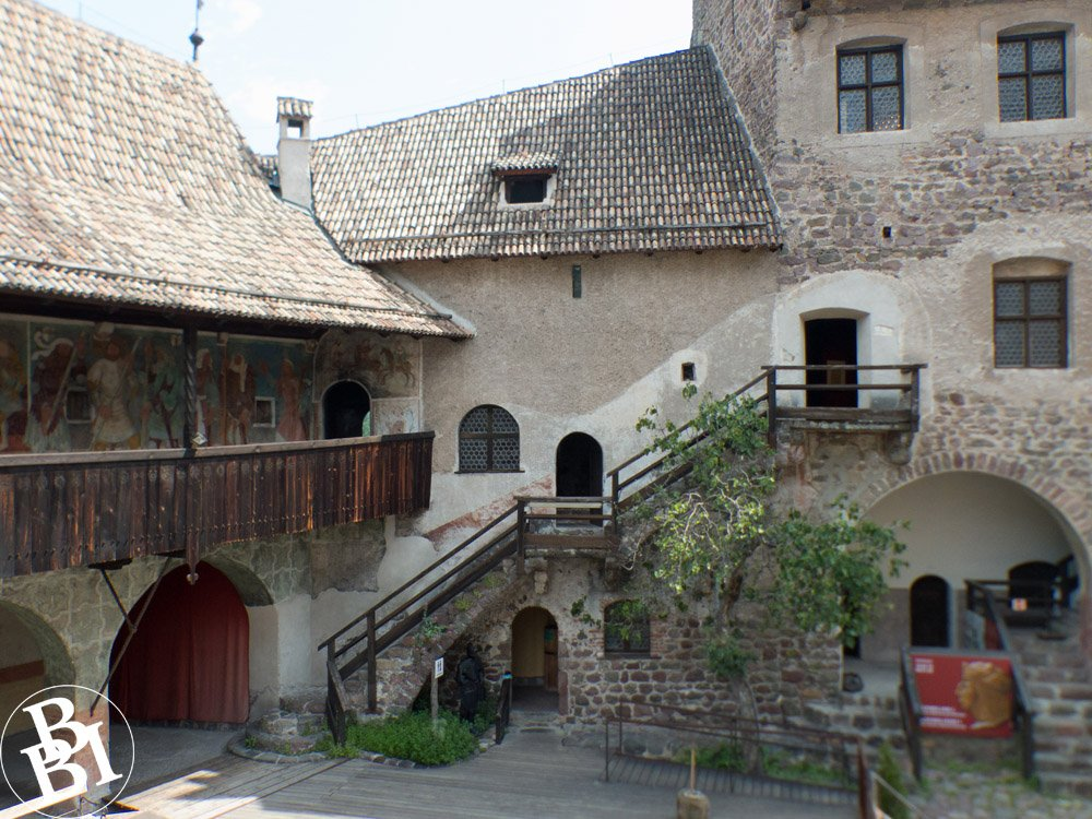 Courtyard surrounded by castle buildings
