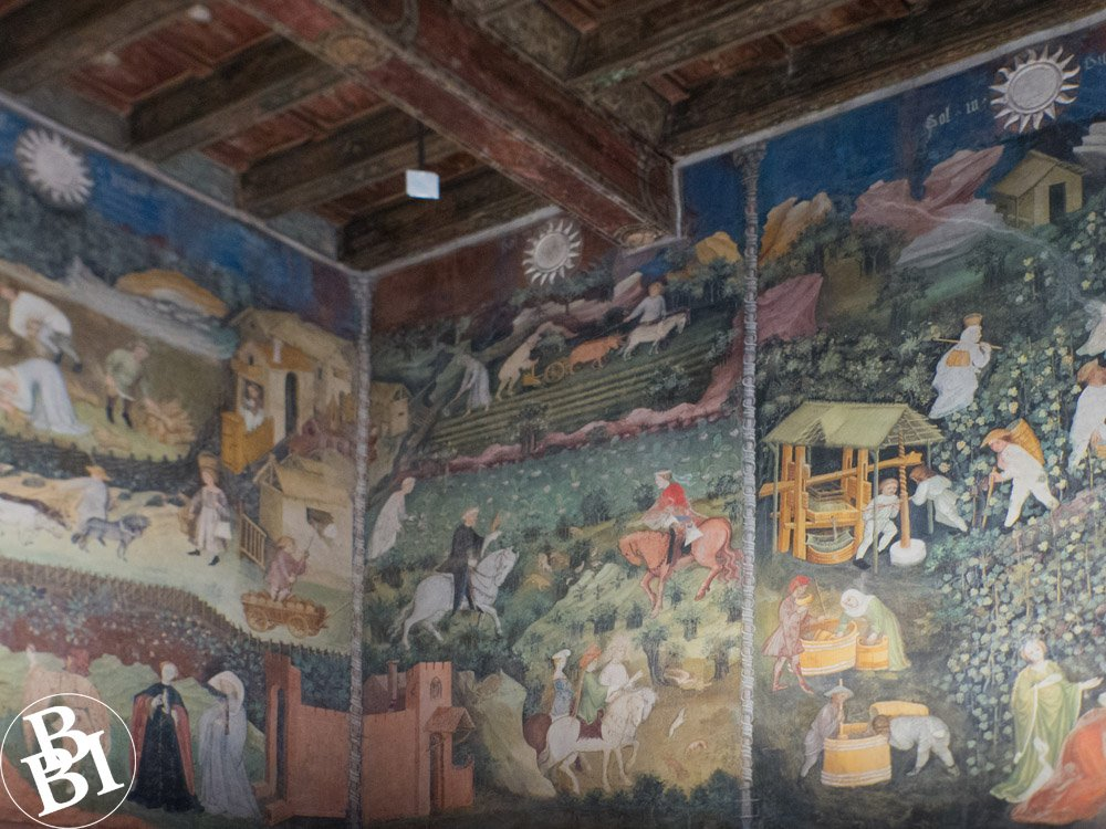 Fresco with pictures of medieval courtiers and farm labourers