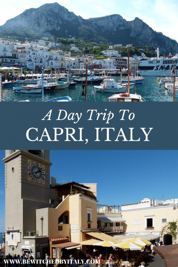 The island of Capri and buildings of Capri Town (pinnable image)
