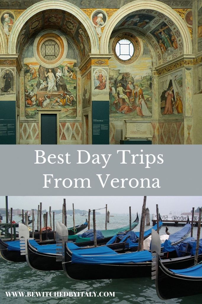 Pinnable image of day trips from Verona, showing ornate arches and frescoes in Brescia and blue boats on the lagoon in Venice