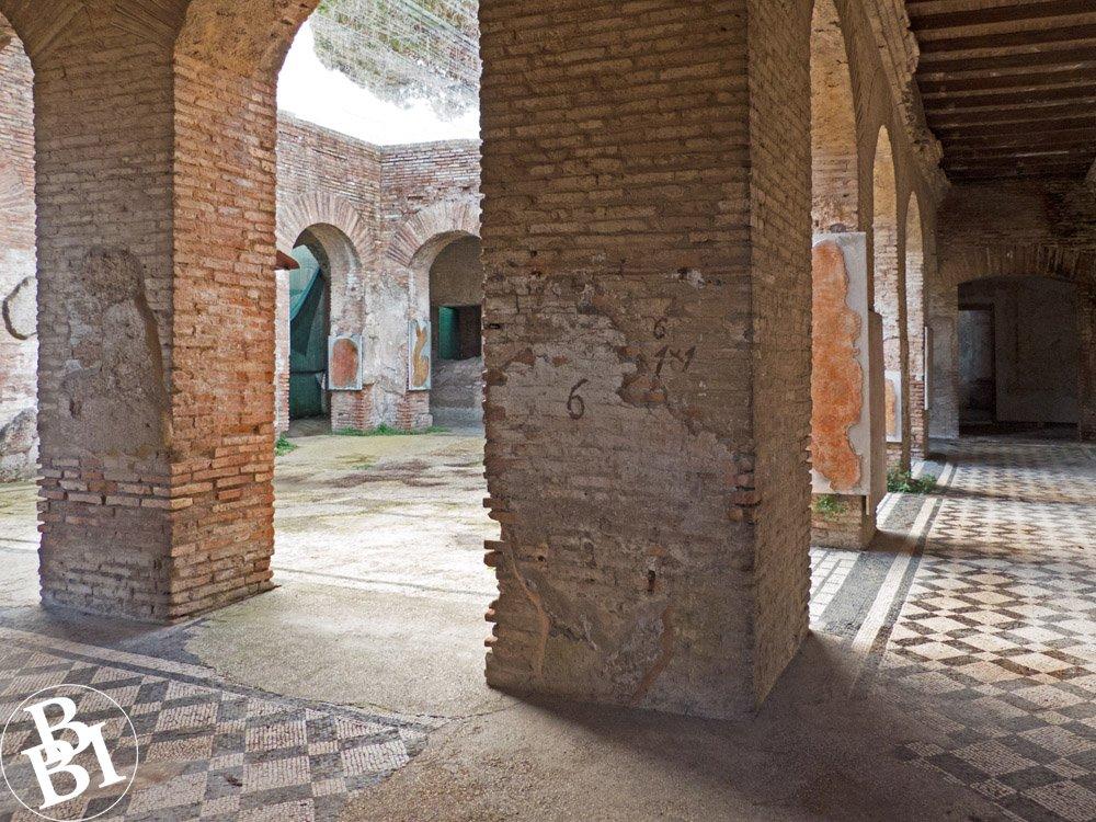 Interior of Roman house with mosaic floor