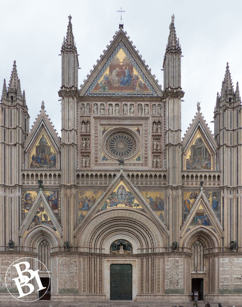Ornate exterior of Orvieto Cathedral