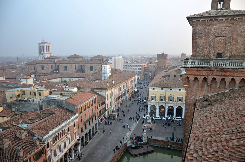 Looking down on the historic buildings of Ferrara