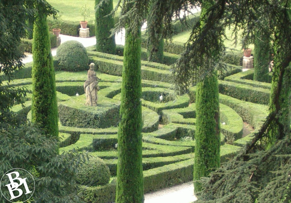 Formal garden with hedges and cypress trees