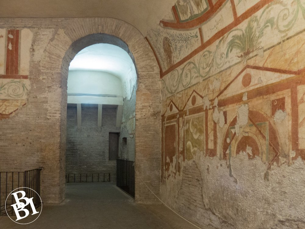 Archway and walls with frescoes