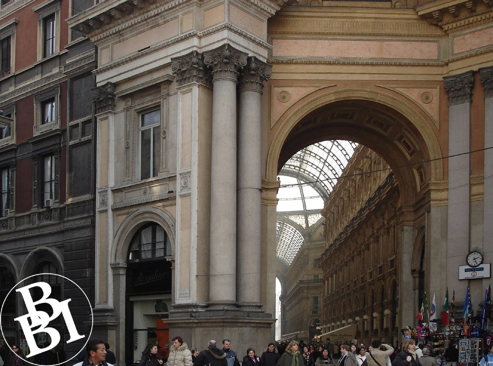 Looking through an arch towards the Galleria