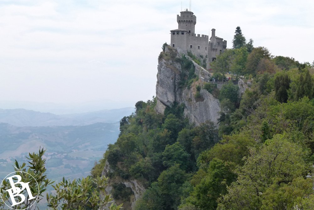 Castle surrounded by trees on top of a tall hill