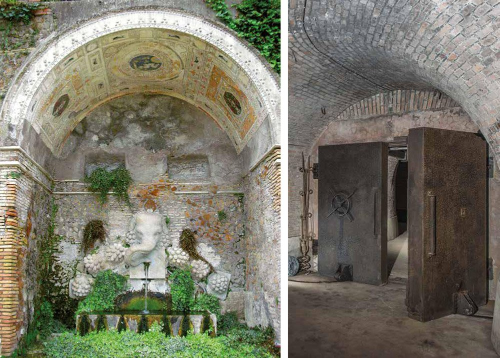 Elephant shaped fountain in an archway, and heavy doors leading to a bunker