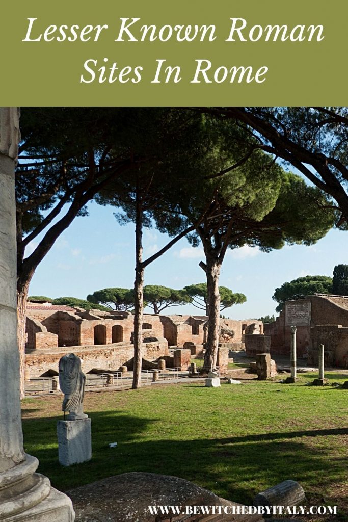 Pinnable image of lesser known Roman sites in Rome showing Roman remains at Ostia Antica