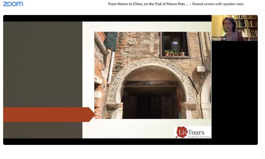 Presentation slide showing medieval building in Venice