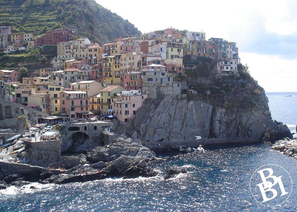 Clifftop village with the sea below