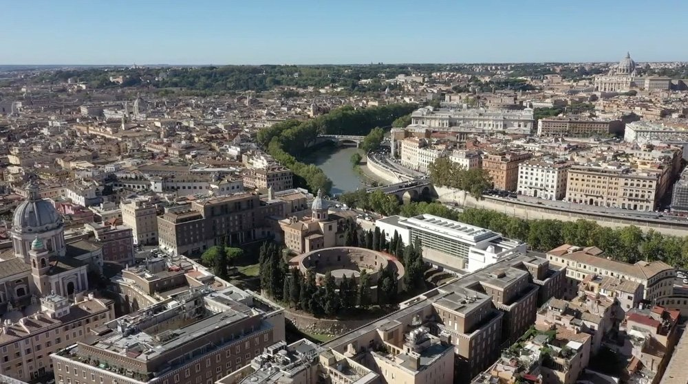 Arial view of Rome with the river and the circular Mausoleum of Augustus