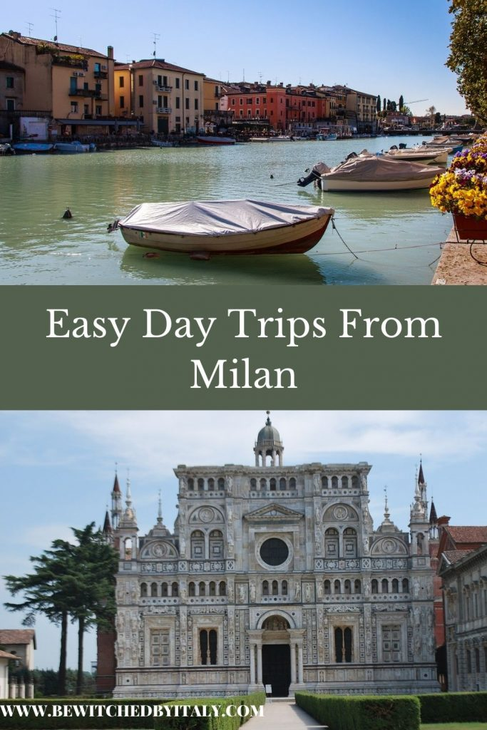 Pinnable image of day trips from Milan - Lake Garda with village and a boat and the Certosa di Pavia