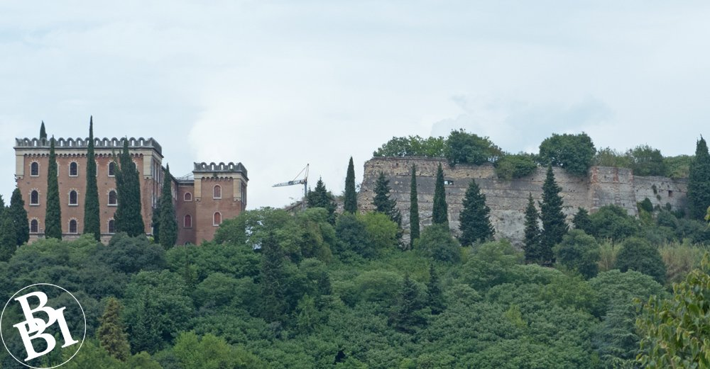 City walls and castle with trees in front