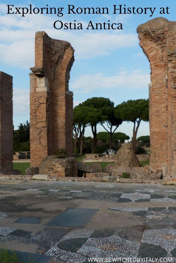 Roman ruins and a mosaic floor