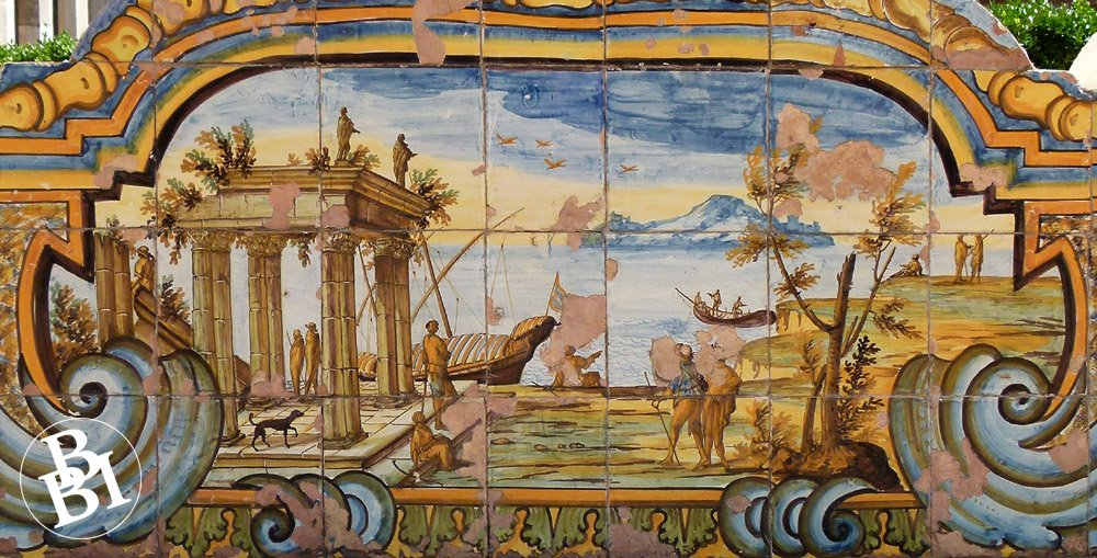 Painted tiles with classical scene of figures and boats