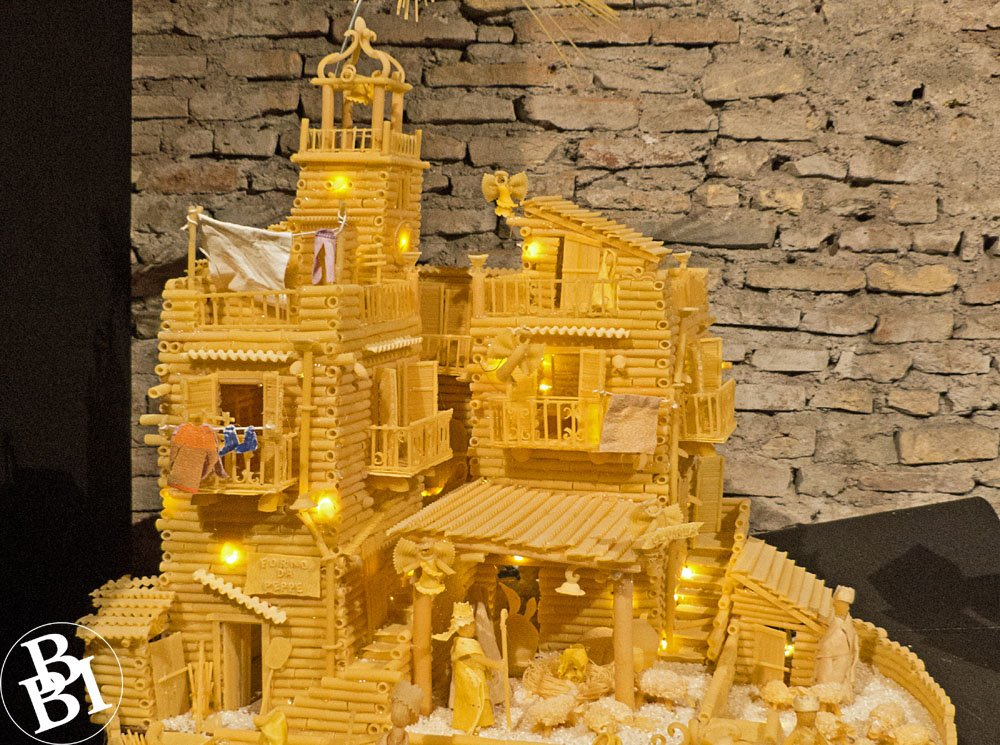 Model of Christmas nativity scene made from different types of pasta