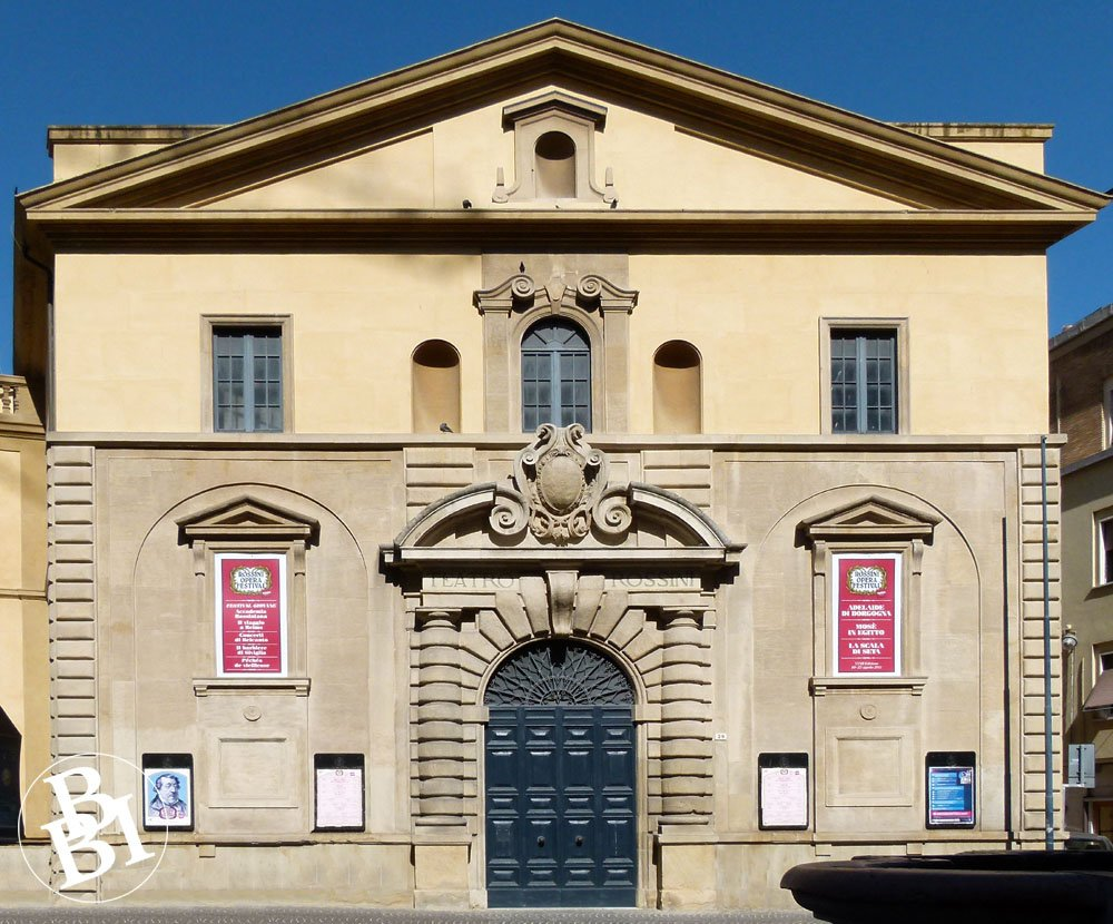 The grand facade of the Conservatory of Music in Pesaro