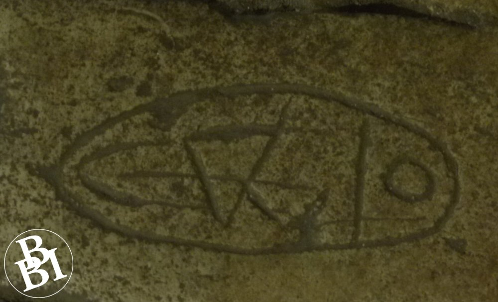 Pilgrim carving on the floor of the church