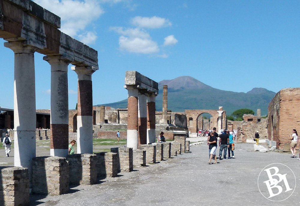 Ruins of Pompeii, with mountains in the background