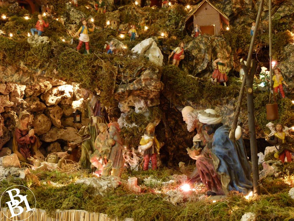 Christmas nativity scene with Biblical figures on a hillside