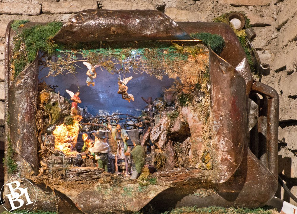 Old metal tin with nativity scene inside