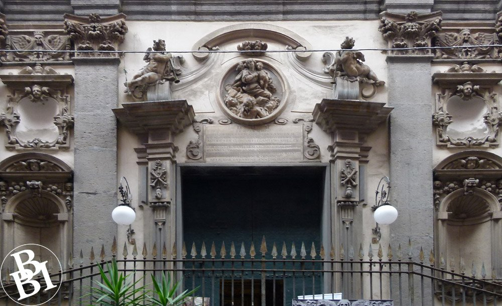 Exterior of Purgatorio ad Arco covered with skulls and bones