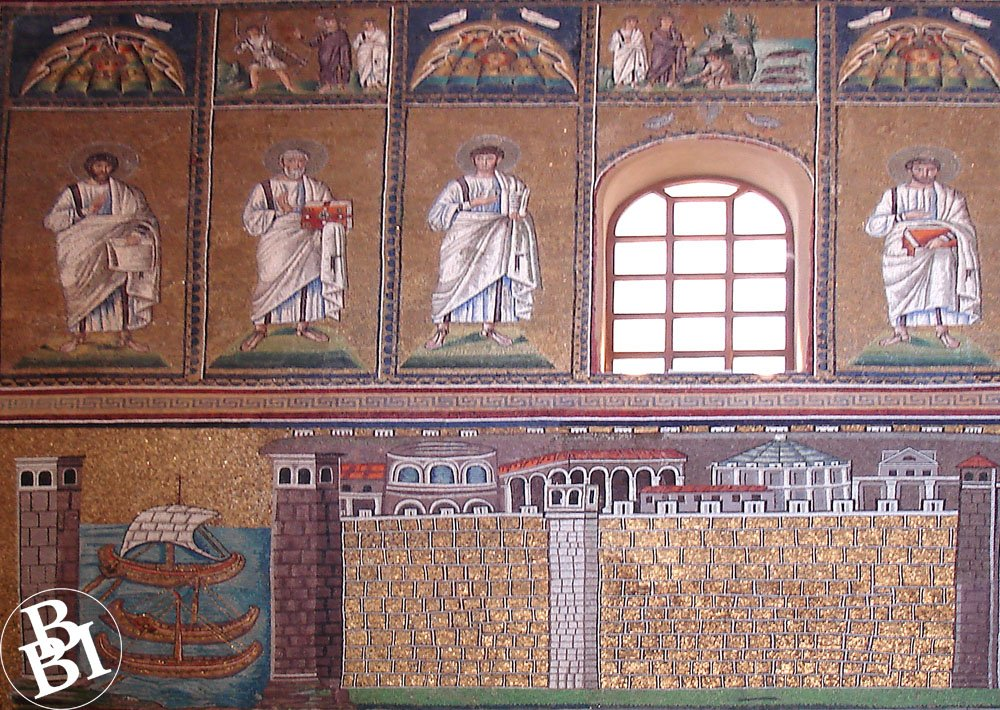 Mosaic images on a wall, showing images of saints, buildings and a ship