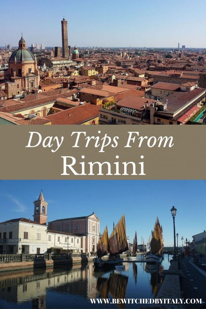 Pinnable image of day trips from Rimini, showing Bologna rooftops and the harbour of Cesenatico with sailing boats and old buildings