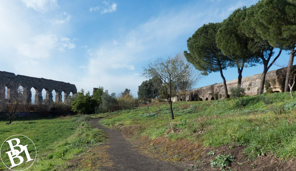 Parkland and trees with the remains of two long Roman aqueducts