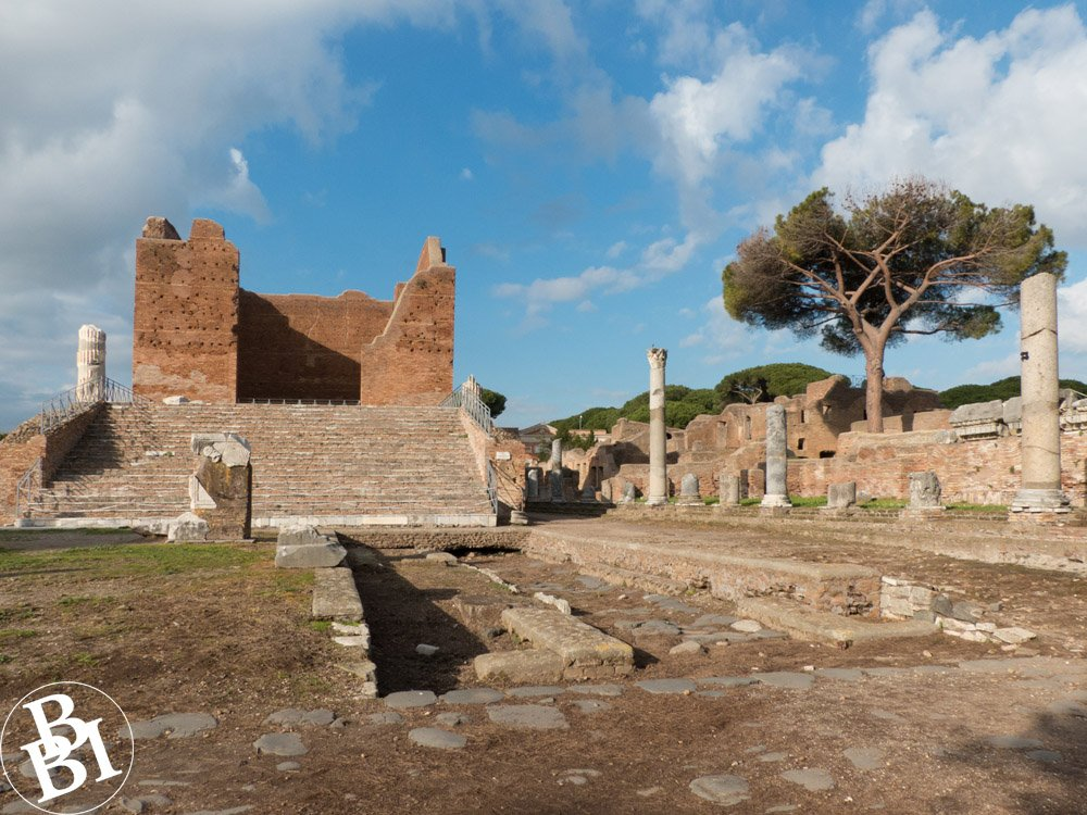Roman remains at Ostia Antica, including the forum and the capitol