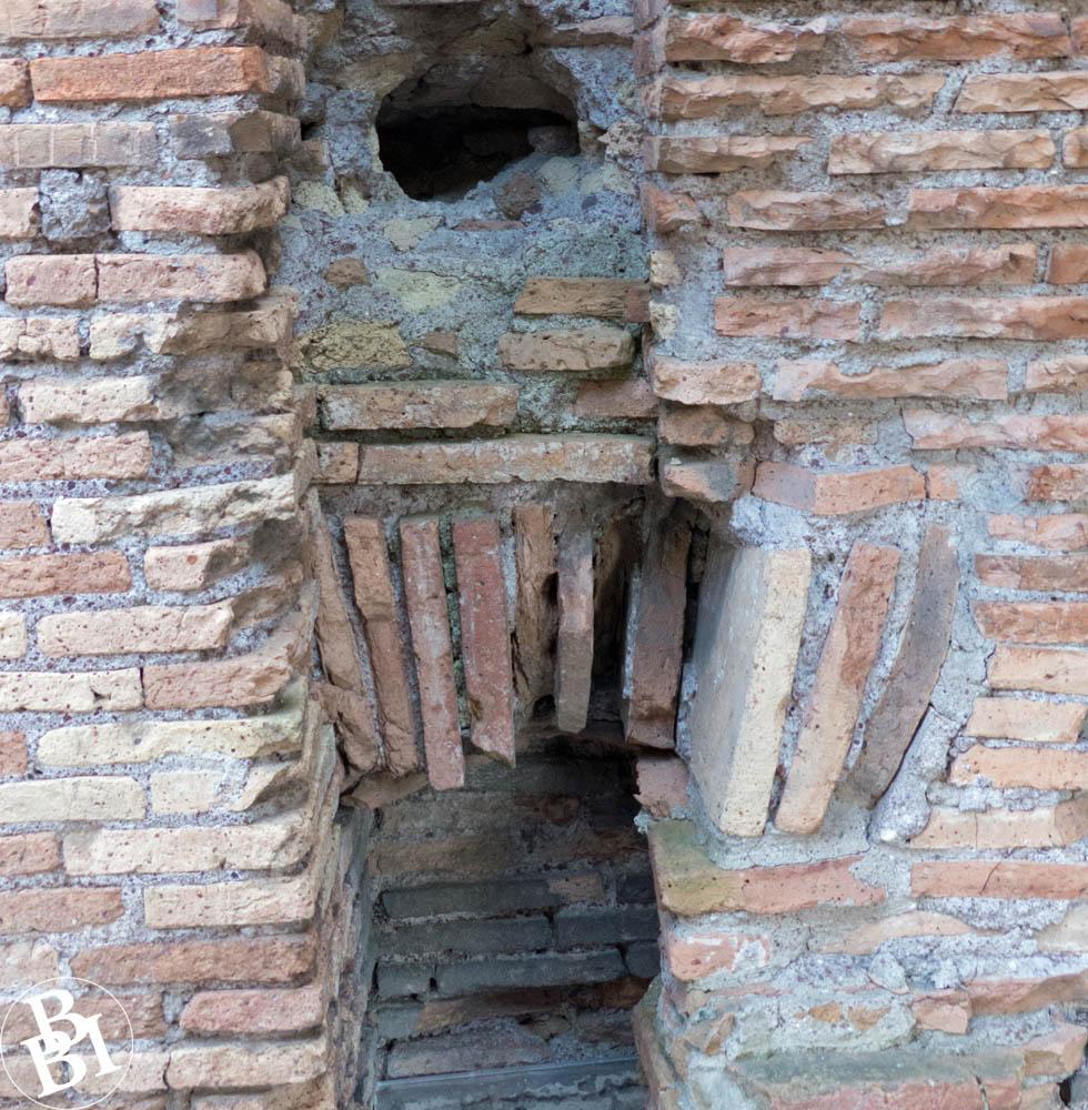Brick wall containing a Roman latrine