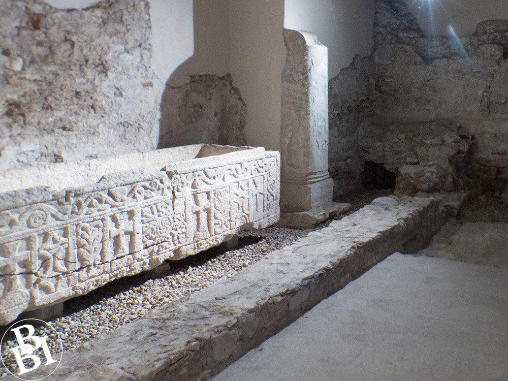 Roman artefacts in the crypt of the basilica