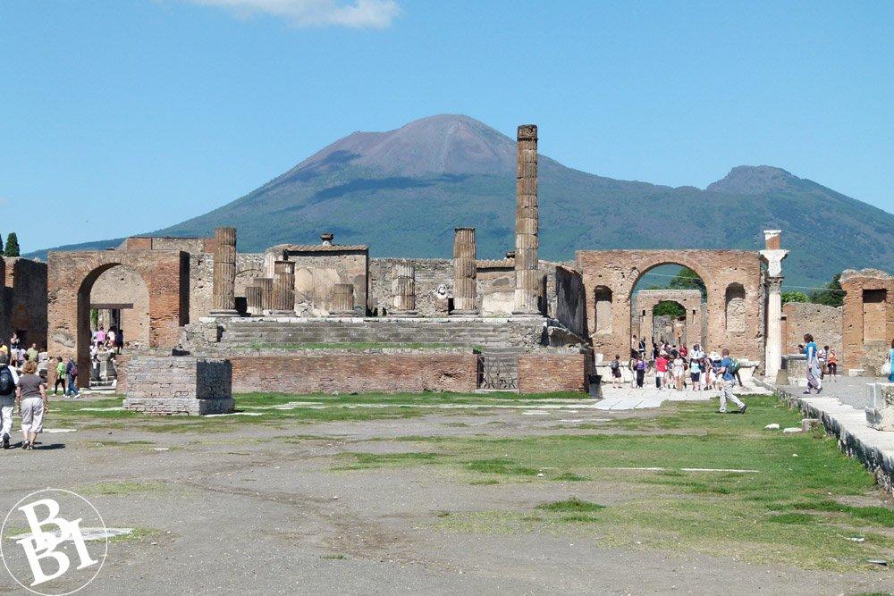 Roman ruins of Pompeii with Mount Vesuvius in the background