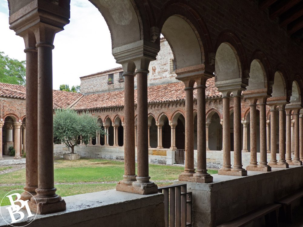 Looking through the arches of the cloisters