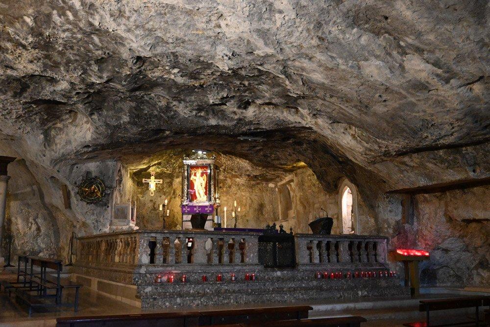 Altar inside the rock church