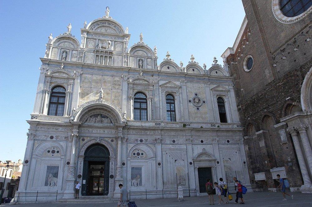 Decorated white facade of the Scuola di San Marco