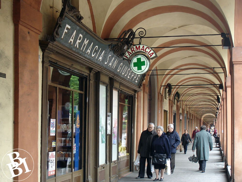 Arches and shops of the Portico di San Luca
