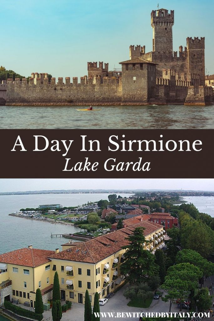 Pinnable image of a day in Sirmione - the castle and the lake, and the peninsula, lake and houses